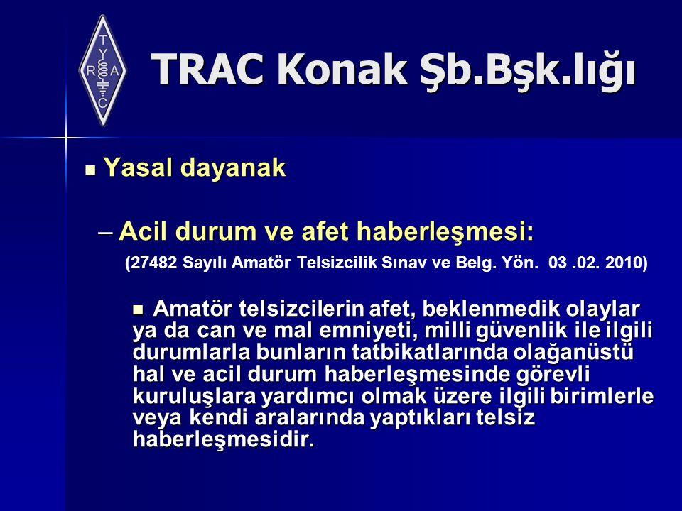 TRAC Konak Şb.Bşk.lığı Yasal dayanak Yasal dayanak –Acil durum ve afet haberleşmesi: (27482 Sayılı Amatör Telsizcilik Sınav ve Belg.