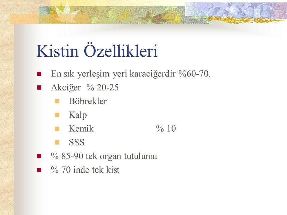 Kistin Özellikleri En sık yerleşim yeri karaciğerdir %60-70. Akciğer % 20-25 Böbrekler Kalp Kemik % 10 SSS % 85-90 tek organ tutulumu % 70 inde tek ki