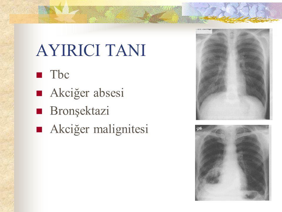 AYIRICI TANI Tbc Akciğer absesi Bronşektazi Akciğer malignitesi