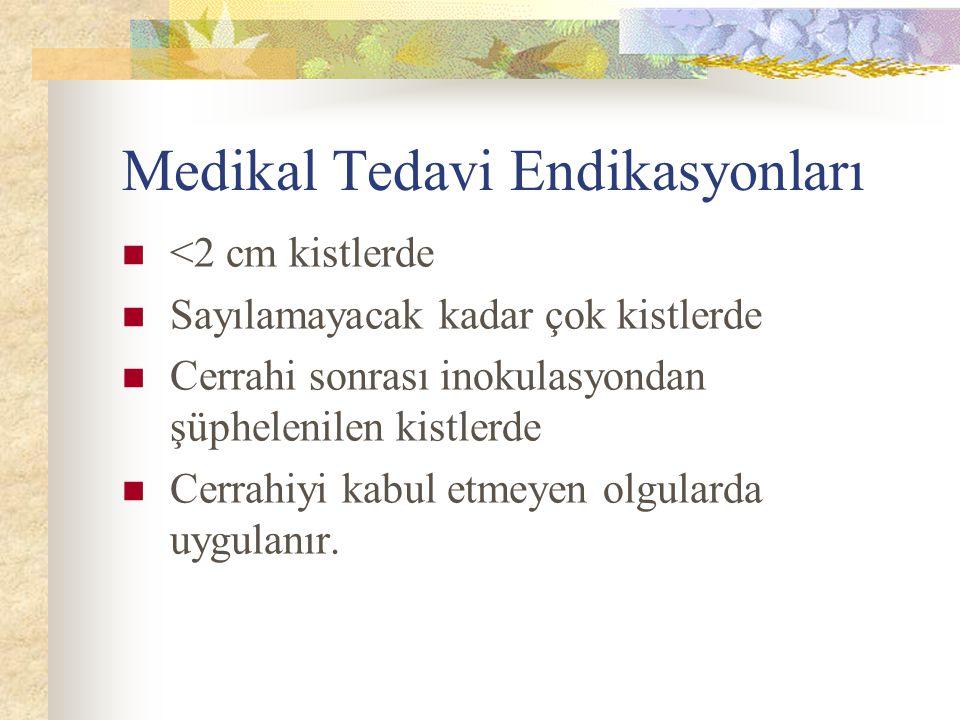 Medikal Tedavi Endikasyonları <2 cm kistlerde Sayılamayacak kadar çok kistlerde Cerrahi sonrası inokulasyondan şüphelenilen kistlerde Cerrahiyi kabul