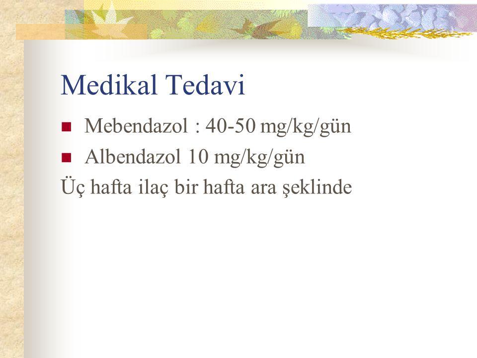 Medikal Tedavi Mebendazol : 40-50 mg/kg/gün Albendazol 10 mg/kg/gün Üç hafta ilaç bir hafta ara şeklinde