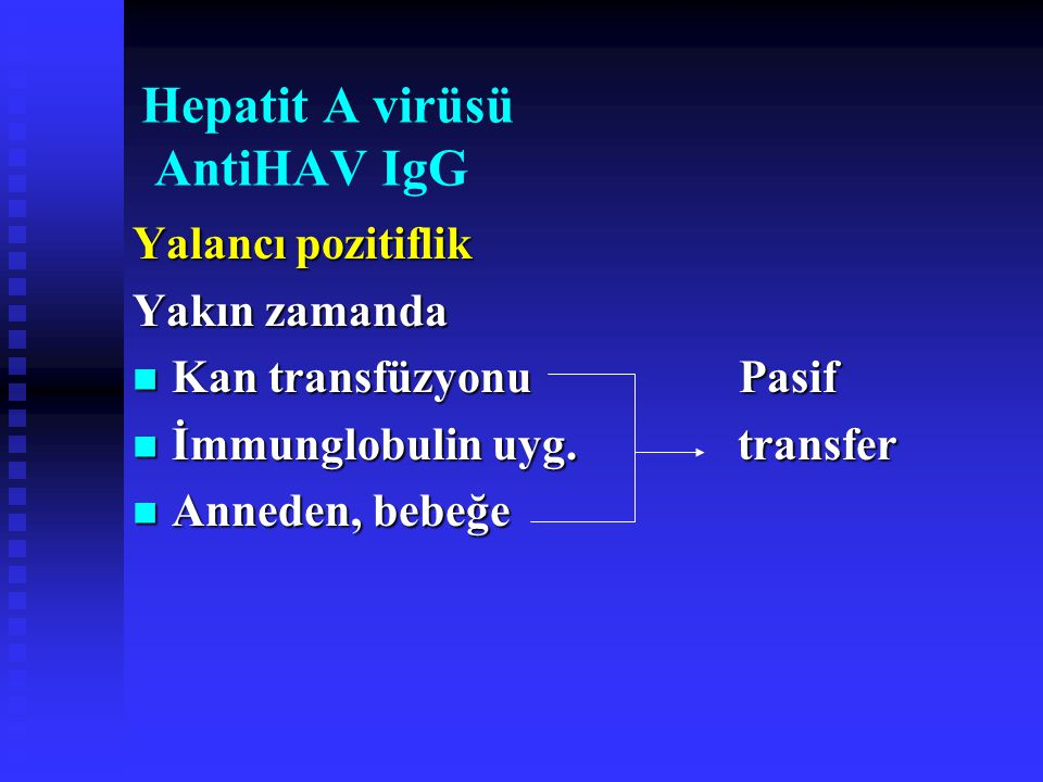 Hepatit A virüsü AntiHAV IgG Yalancı pozitiflik Yakın zamanda Kan transfüzyonu Pasif Kan transfüzyonu Pasif İmmunglobulin uyg. transfer İmmunglobulin