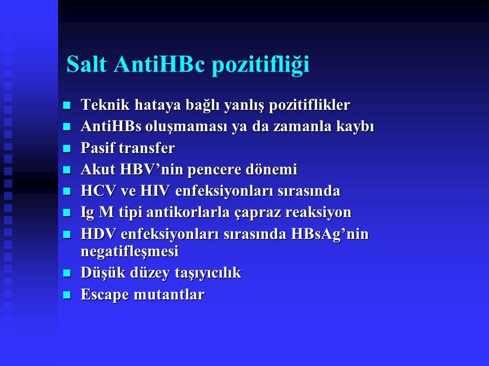 Salt AntiHBc pozitifliği Teknik hataya bağlı yanlış pozitiflikler Teknik hataya bağlı yanlış pozitiflikler AntiHBs oluşmaması ya da zamanla kaybı AntiHBs oluşmaması ya da zamanla kaybı Pasif transfer Pasif transfer Akut HBV'nin pencere dönemi Akut HBV'nin pencere dönemi HCV ve HIV enfeksiyonları sırasında HCV ve HIV enfeksiyonları sırasında Ig M tipi antikorlarla çapraz reaksiyon Ig M tipi antikorlarla çapraz reaksiyon HDV enfeksiyonları sırasında HBsAg'nin negatifleşmesi HDV enfeksiyonları sırasında HBsAg'nin negatifleşmesi Düşük düzey taşıyıcılık Düşük düzey taşıyıcılık Escape mutantlar Escape mutantlar