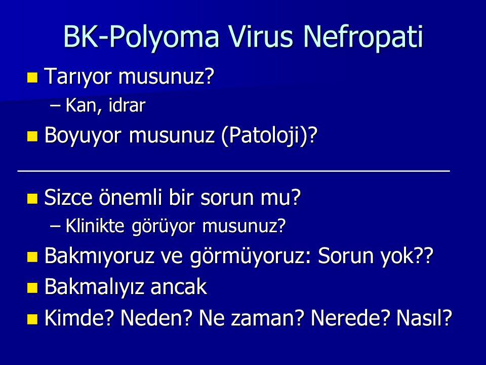 BK-Polyoma Virus Nefropati Tarıyor musunuz? Tarıyor musunuz? –Kan, idrar Boyuyor musunuz (Patoloji)? Boyuyor musunuz (Patoloji)? Sizce önemli bir soru