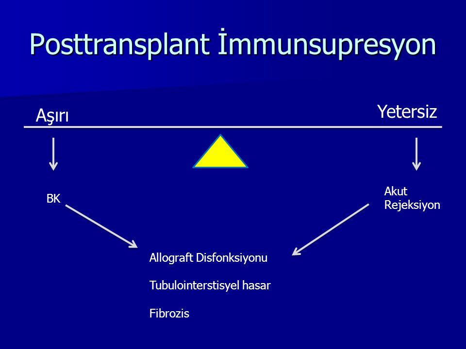 Posttransplant İmmunsupresyon Aşırı Yetersiz BK Akut Rejeksiyon Allograft Disfonksiyonu Tubulointerstisyel hasar Fibrozis