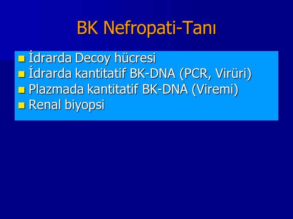 BK Nefropati-Tanı İdrarda Decoy hücresi İdrarda Decoy hücresi İdrarda kantitatif BK-DNA (PCR, Virüri) İdrarda kantitatif BK-DNA (PCR, Virüri) Plazmada