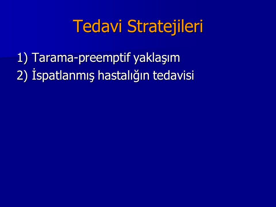 Tedavi Stratejileri 1) Tarama-preemptif yaklaşım 2) İspatlanmış hastalığın tedavisi