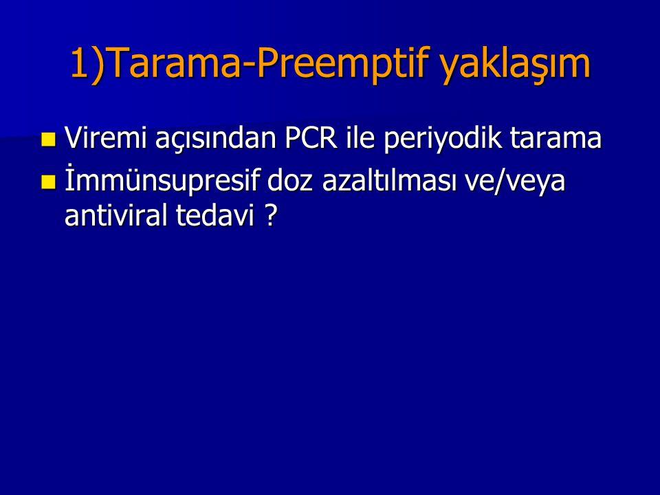 1)Tarama-Preemptif yaklaşım Viremi açısından PCR ile periyodik tarama Viremi açısından PCR ile periyodik tarama İmmünsupresif doz azaltılması ve/veya