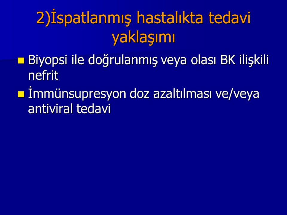 2)İspatlanmış hastalıkta tedavi yaklaşımı Biyopsi ile doğrulanmış veya olası BK ilişkili nefrit Biyopsi ile doğrulanmış veya olası BK ilişkili nefrit
