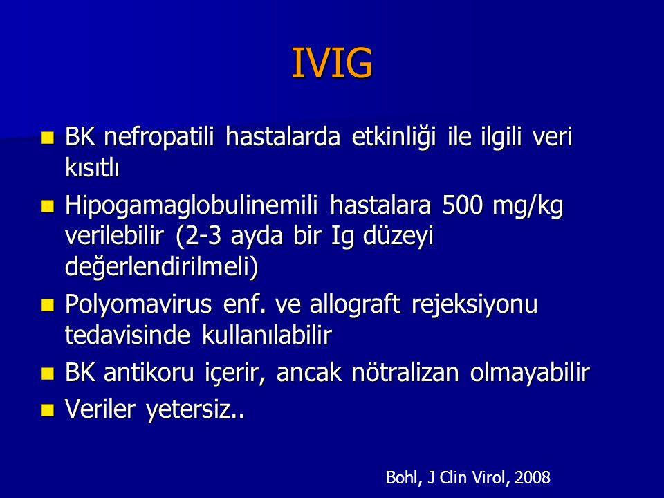 IVIG BK nefropatili hastalarda etkinliği ile ilgili veri kısıtlı BK nefropatili hastalarda etkinliği ile ilgili veri kısıtlı Hipogamaglobulinemili has