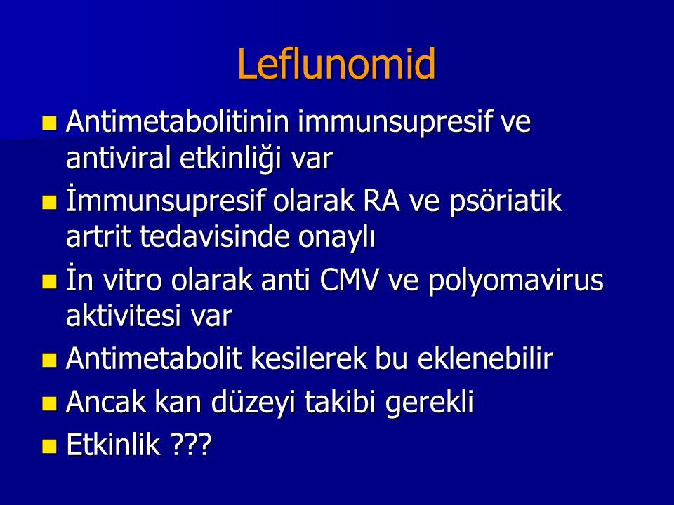 Leflunomid Antimetabolitinin immunsupresif ve antiviral etkinliği var Antimetabolitinin immunsupresif ve antiviral etkinliği var İmmunsupresif olarak