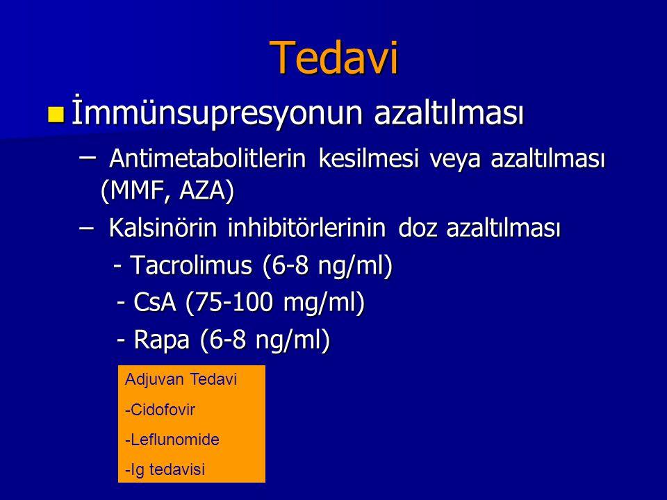 Tedavi İmmünsupresyonun azaltılması İmmünsupresyonun azaltılması – Antimetabolitlerin kesilmesi veya azaltılması (MMF, AZA) – Kalsinörin inhibitörleri