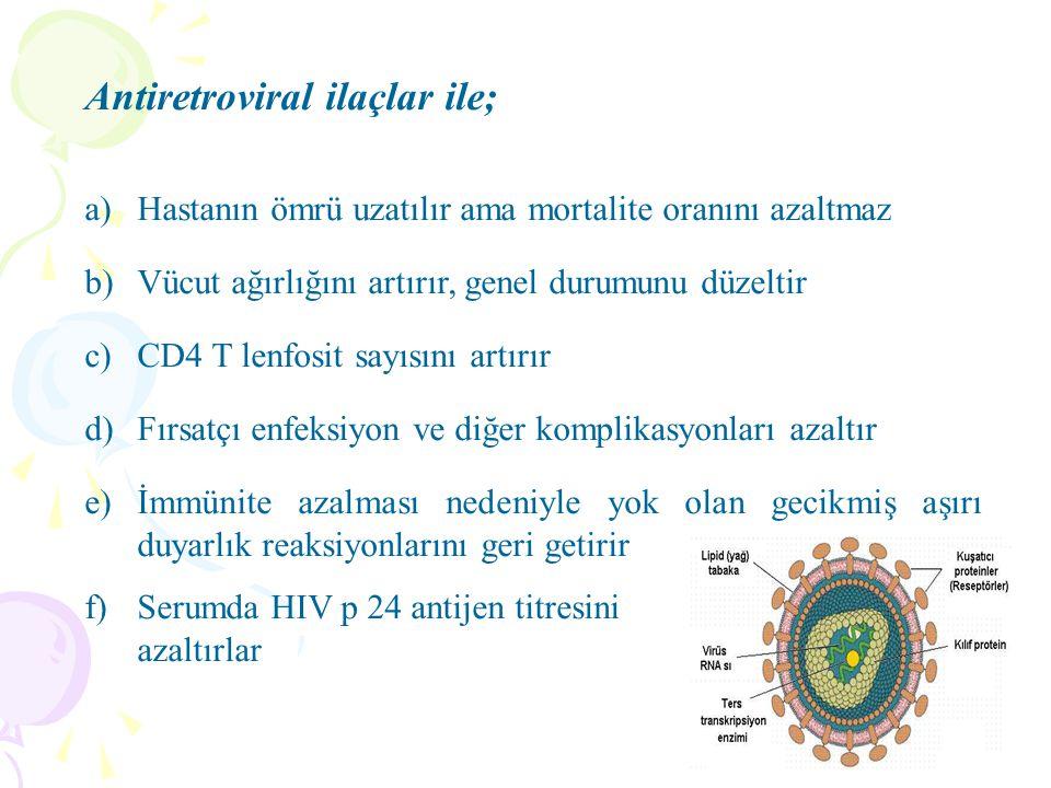 Antiretroviral ilaçlar ile; a)Hastanın ömrü uzatılır ama mortalite oranını azaltmaz b)Vücut ağırlığını artırır, genel durumunu düzeltir c)CD4 T lenfos
