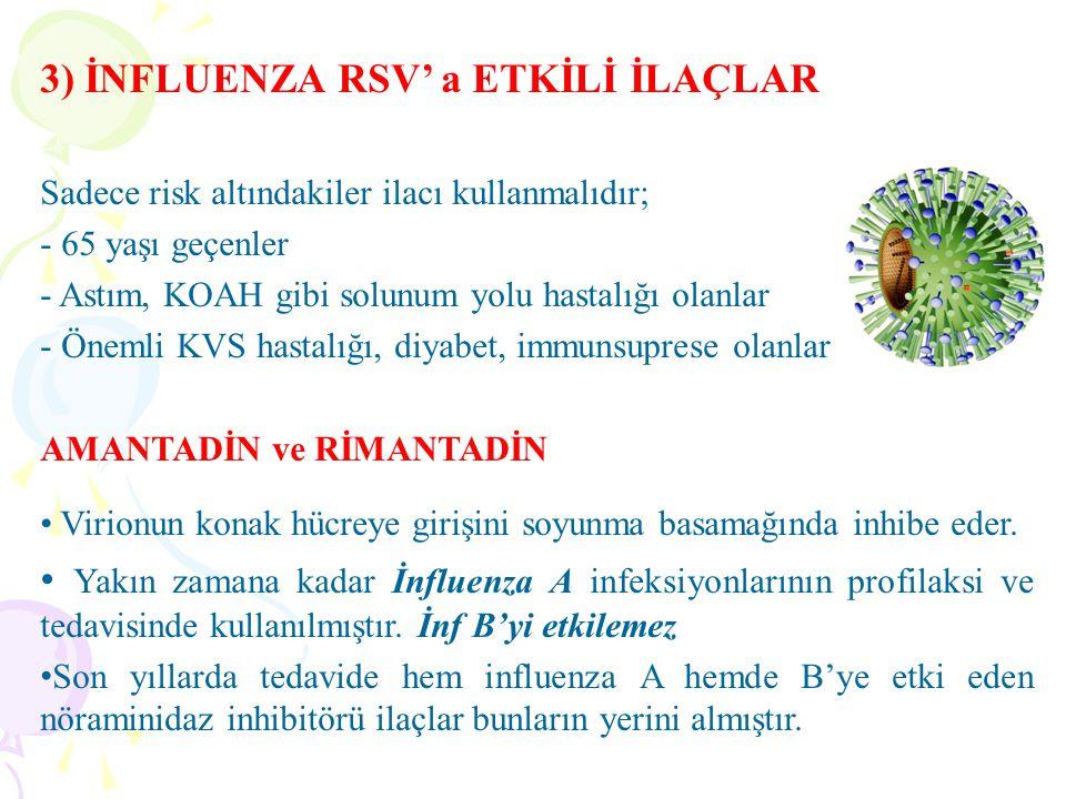 3) İNFLUENZA RSV' a ETKİLİ İLAÇLAR Sadece risk altındakiler ilacı kullanmalıdır; - 65 yaşı geçenler - Astım, KOAH gibi solunum yolu hastalığı olanlar