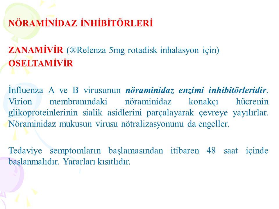 NÖRAMİNİDAZ İNHİBİTÖRLERİ ZANAMİVİR (®Relenza 5mg rotadisk inhalasyon için) OSELTAMİVİR İnfluenza A ve B virusunun nöraminidaz enzimi inhibitörleridir