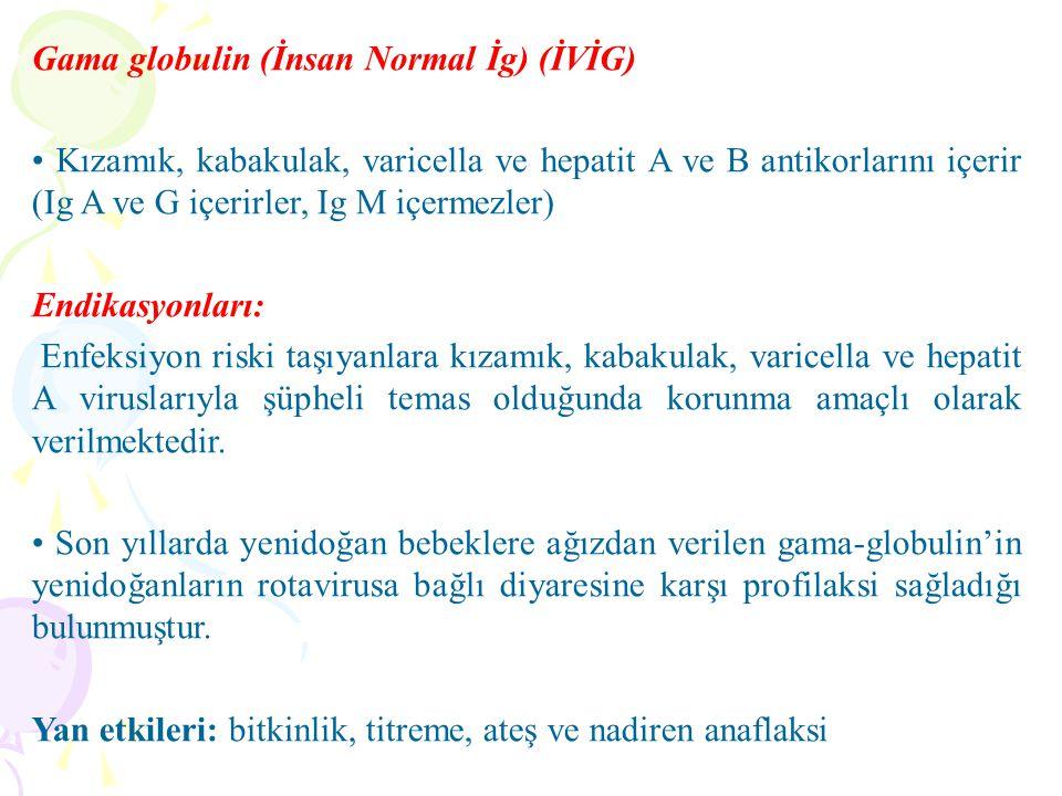 Gama globulin (İnsan Normal İg) (İVİG) Kızamık, kabakulak, varicella ve hepatit A ve B antikorlarını içerir (Ig A ve G içerirler, Ig M içermezler) End