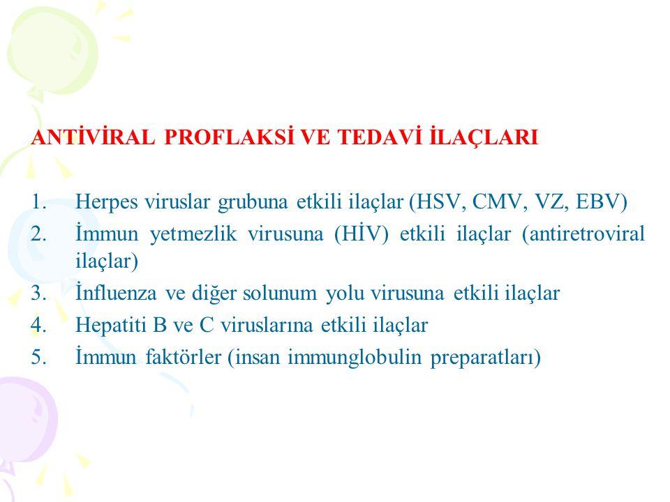 ANTİVİRAL PROFLAKSİ VE TEDAVİ İLAÇLARI 1.Herpes viruslar grubuna etkili ilaçlar (HSV, CMV, VZ, EBV) 2.İmmun yetmezlik virusuna (HİV) etkili ilaçlar (a
