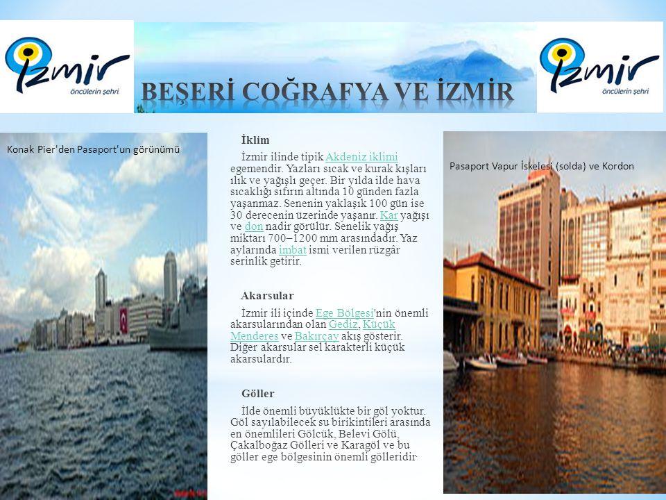 İklim İzmir ilinde tipik Akdeniz iklimi egemendir. Yazları sıcak ve kurak kışları ılık ve yağışlı geçer. Bir yılda ilde hava sıcaklığı sıfırın altında