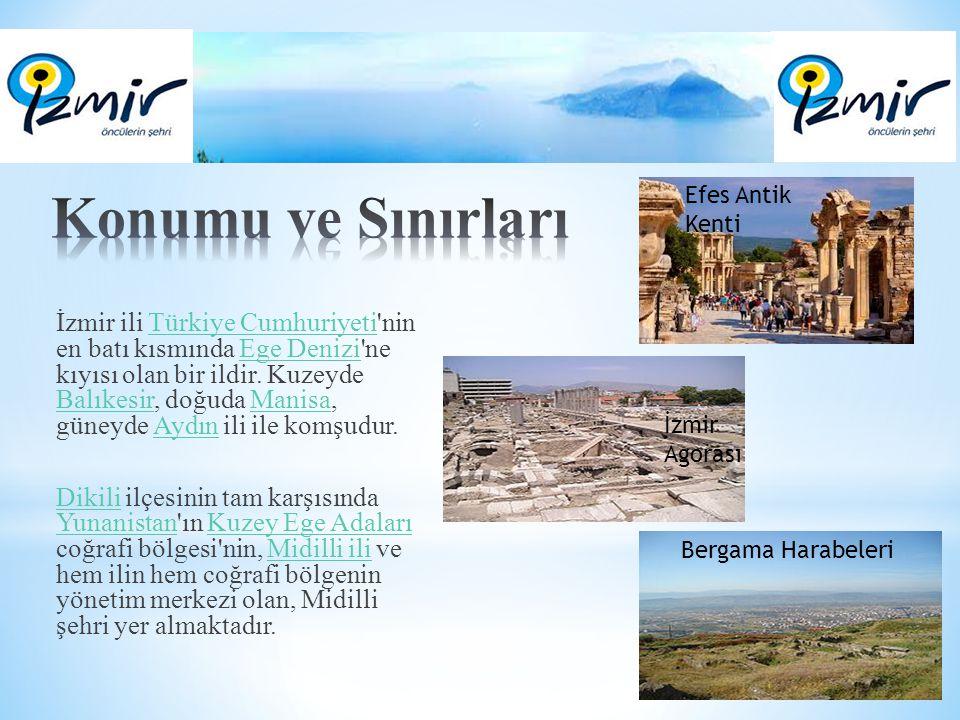 İzmir ili Türkiye Cumhuriyeti'nin en batı kısmında Ege Denizi'ne kıyısı olan bir ildir. Kuzeyde Balıkesir, doğuda Manisa, güneyde Aydın ili ile komşud