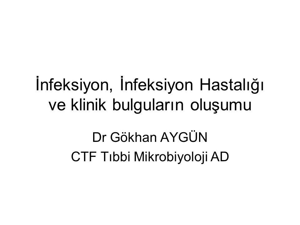 İnfeksiyon, İnfeksiyon Hastalığı ve klinik bulguların oluşumu Dr Gökhan AYGÜN CTF Tıbbi Mikrobiyoloji AD