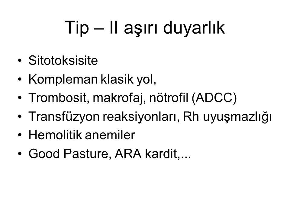 Tip – II aşırı duyarlık Sitotoksisite Kompleman klasik yol, Trombosit, makrofaj, nötrofil (ADCC) Transfüzyon reaksiyonları, Rh uyuşmazlığı Hemolitik a