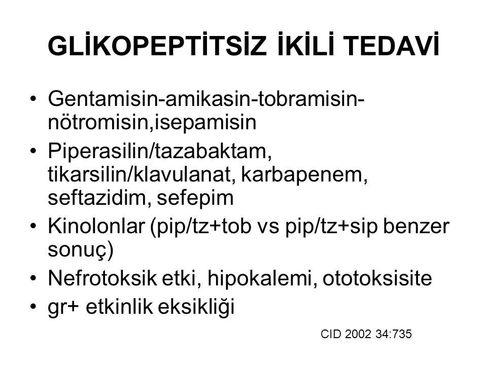GLİKOPEPTİTSİZ İKİLİ TEDAVİ Gentamisin-amikasin-tobramisin- nötromisin,isepamisin Piperasilin/tazabaktam, tikarsilin/klavulanat, karbapenem, seftazidi