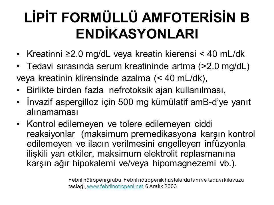 LİPİT FORMÜLLÜ AMFOTERİSİN B ENDİKASYONLARI Kreatinni ≥2.0 mg/dL veya kreatin kierensi < 40 mL/dk Tedavi sırasında serum kreatininde artma (>2.0 mg/dL