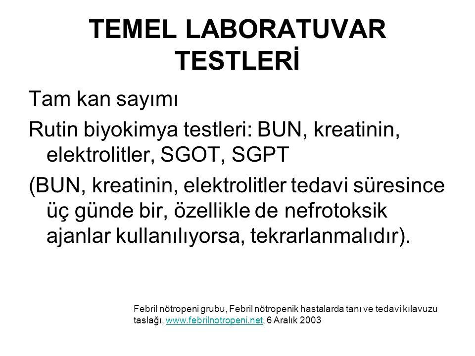 TEMEL LABORATUVAR TESTLERİ Tam kan sayımı Rutin biyokimya testleri: BUN, kreatinin, elektrolitler, SGOT, SGPT (BUN, kreatinin, elektrolitler tedavi sü