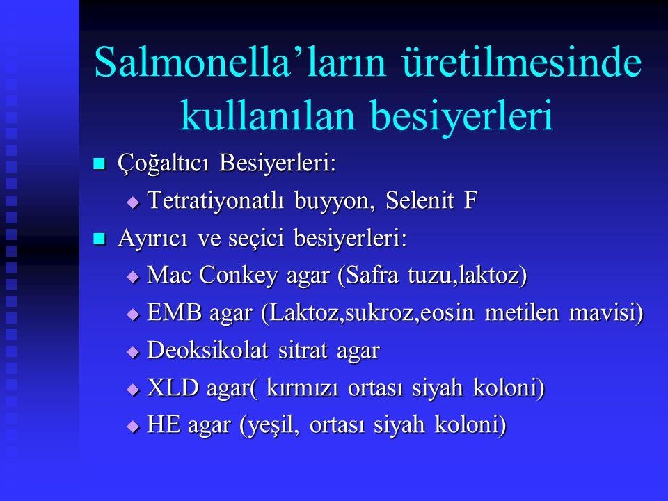 Salmonella'ların üretilmesinde kullanılan besiyerleri Çoğaltıcı Besiyerleri: Çoğaltıcı Besiyerleri:  Tetratiyonatlı buyyon, Selenit F Ayırıcı ve seçi