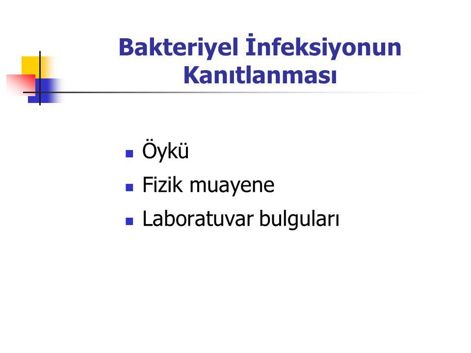 Bakteriyel İnfeksiyonun Kanıtlanması Öykü Fizik muayene Laboratuvar bulguları