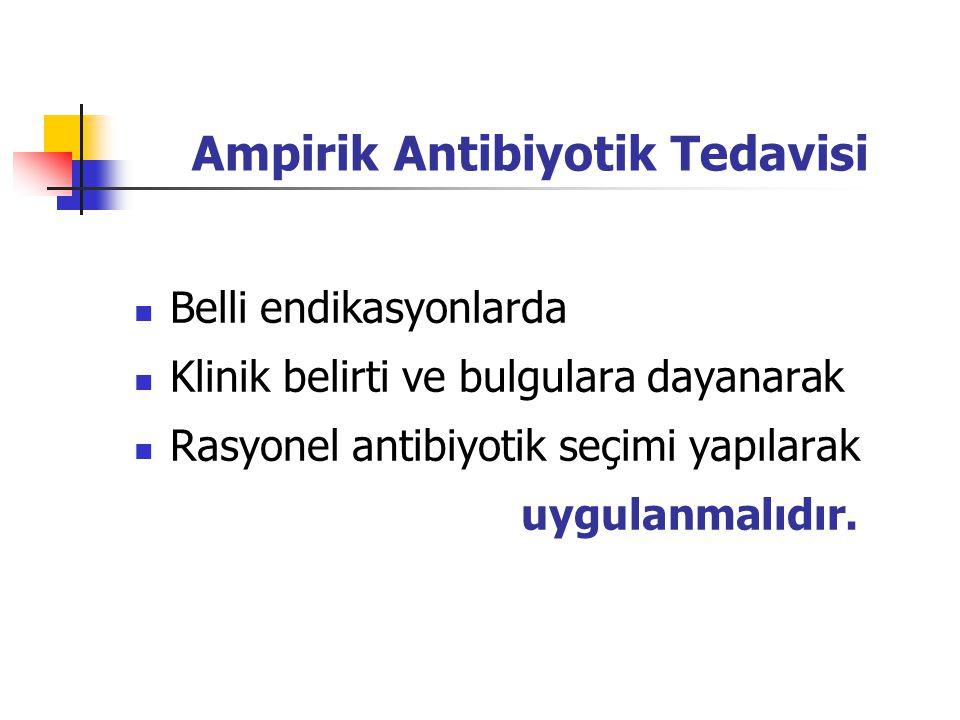 Ampirik Antibiyotik Tedavisi Belli endikasyonlarda Klinik belirti ve bulgulara dayanarak Rasyonel antibiyotik seçimi yapılarak uygulanmalıdır.