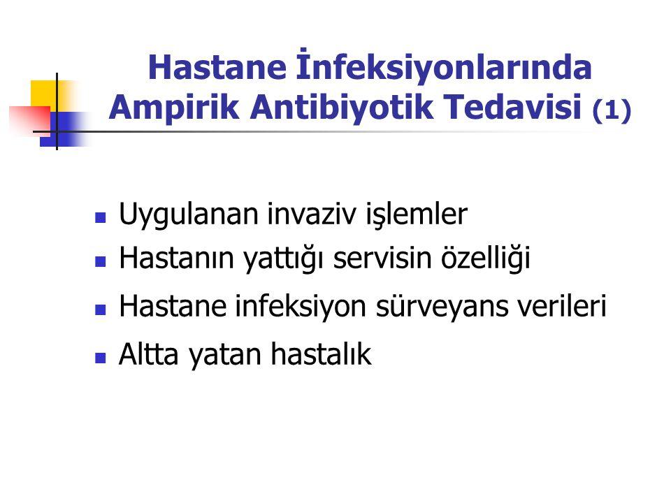 Hastane İnfeksiyonlarında Ampirik Antibiyotik Tedavisi (1) Uygulanan invaziv işlemler Hastanın yattığı servisin özelliği Hastane infeksiyon sürveyans verileri Altta yatan hastalık