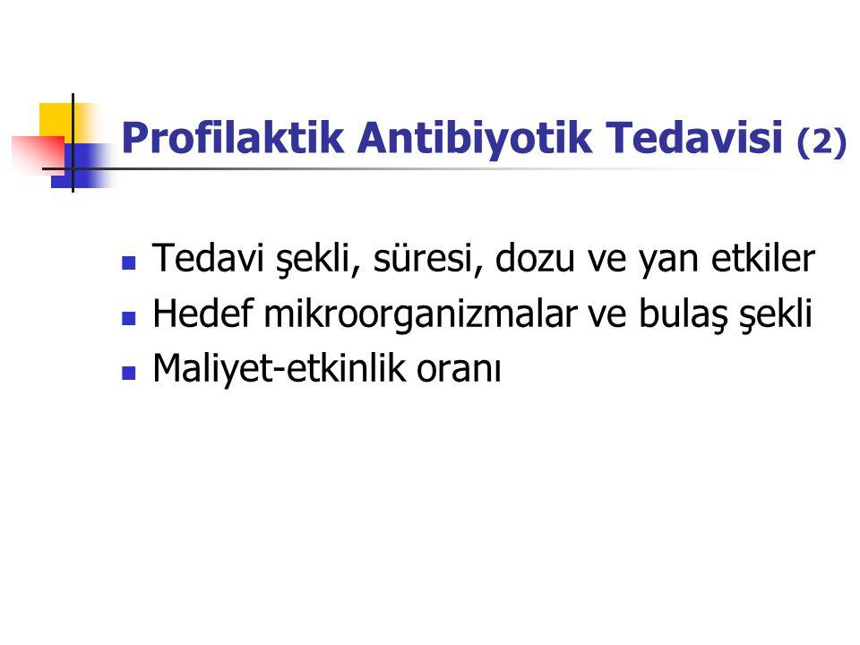 Profilaktik Antibiyotik Tedavisi (2) Tedavi şekli, süresi, dozu ve yan etkiler Hedef mikroorganizmalar ve bulaş şekli Maliyet-etkinlik oranı