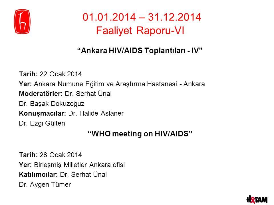 Ankara HIV/AIDS Toplantıları - IV Tarih: 22 Ocak 2014 Yer: Ankara Numune Eğitim ve Araştırma Hastanesi - Ankara Moderatörler: Dr.