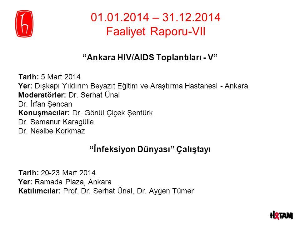 01.01.2014 – 31.12.2014 Faaliyet Raporu-VII Ankara HIV/AIDS Toplantıları - V Tarih: 5 Mart 2014 Yer: Dışkapı Yıldırım Beyazıt Eğitim ve Araştırma Hastanesi - Ankara Moderatörler: Dr.