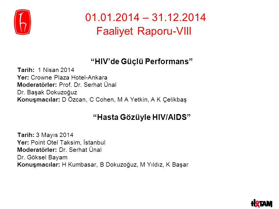 HIV'de Güçlü Performans Tarih: 1 Nisan 2014 Yer: Crowne Plaza Hotel-Ankara Moderatörler: Prof.