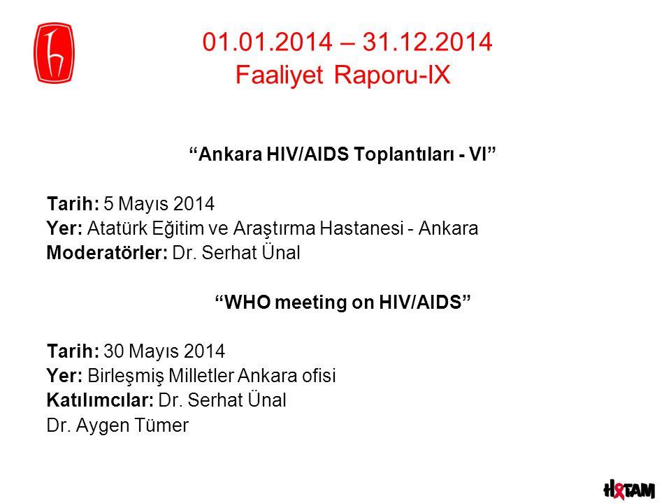 Ankara HIV/AIDS Toplantıları - VI Tarih: 5 Mayıs 2014 Yer: Atatürk Eğitim ve Araştırma Hastanesi - Ankara Moderatörler: Dr.