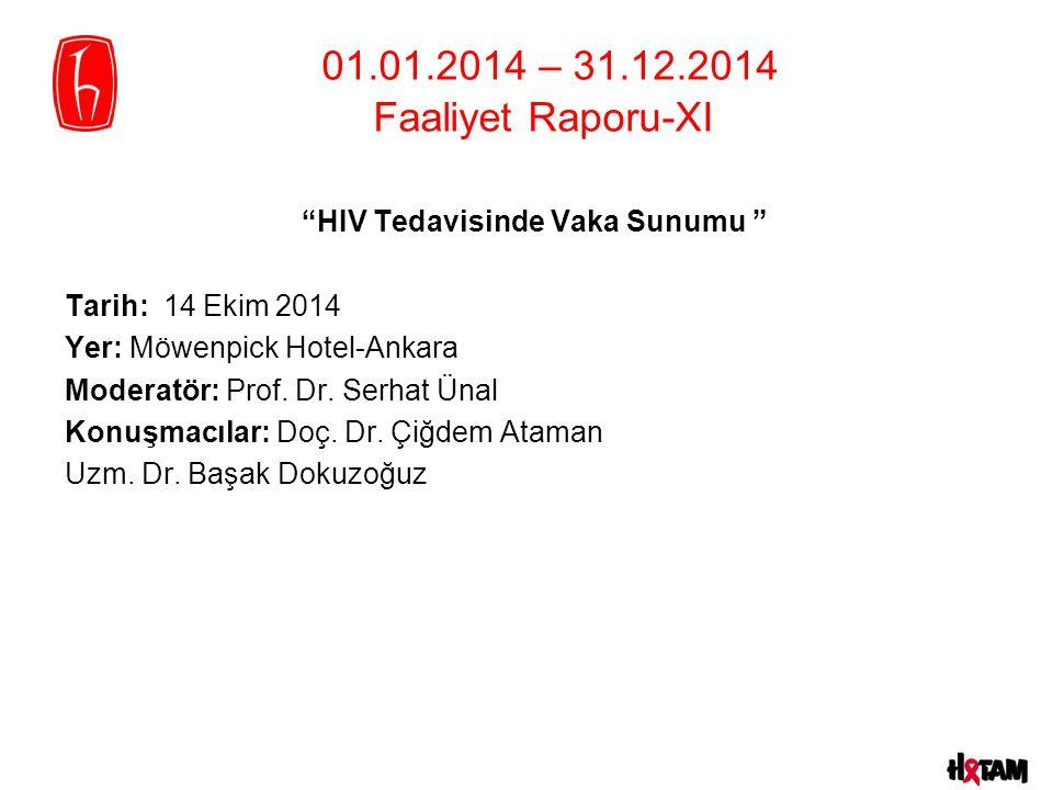 """""""HIV Tedavisinde Vaka Sunumu """" Tarih: 14 Ekim 2014 Yer: Möwenpick Hotel-Ankara Moderatör: Prof. Dr. Serhat Ünal Konuşmacılar: Doç. Dr. Çiğdem Ataman U"""