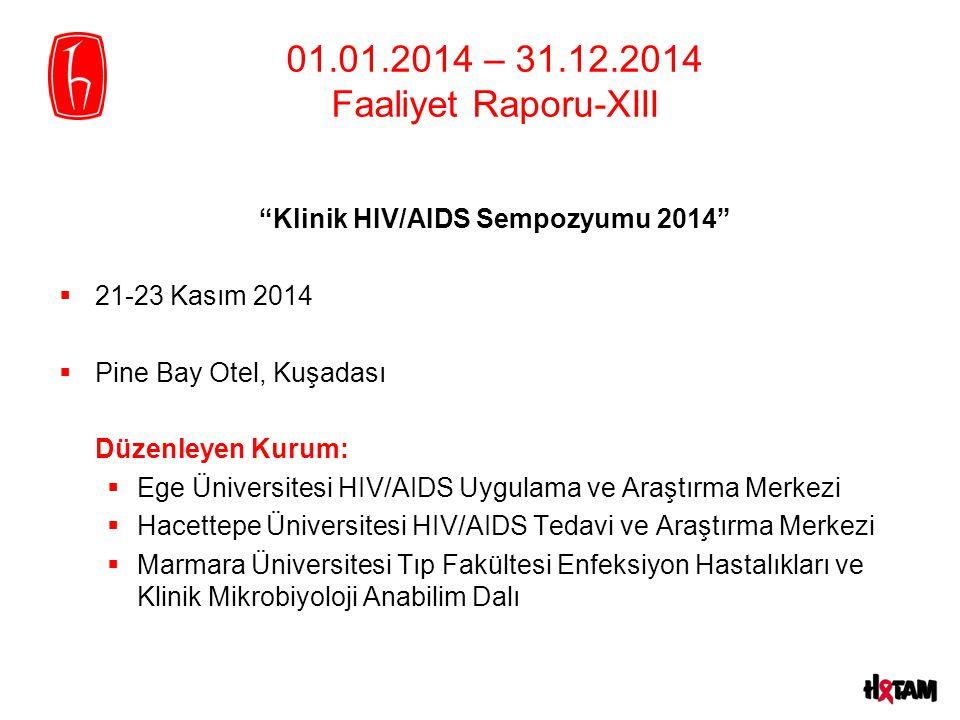 """01.01.2014 – 31.12.2014 Faaliyet Raporu-XIII """"Klinik HIV/AIDS Sempozyumu 2014""""  21-23 Kasım 2014  Pine Bay Otel, Kuşadası Düzenleyen Kurum:  Ege Ün"""
