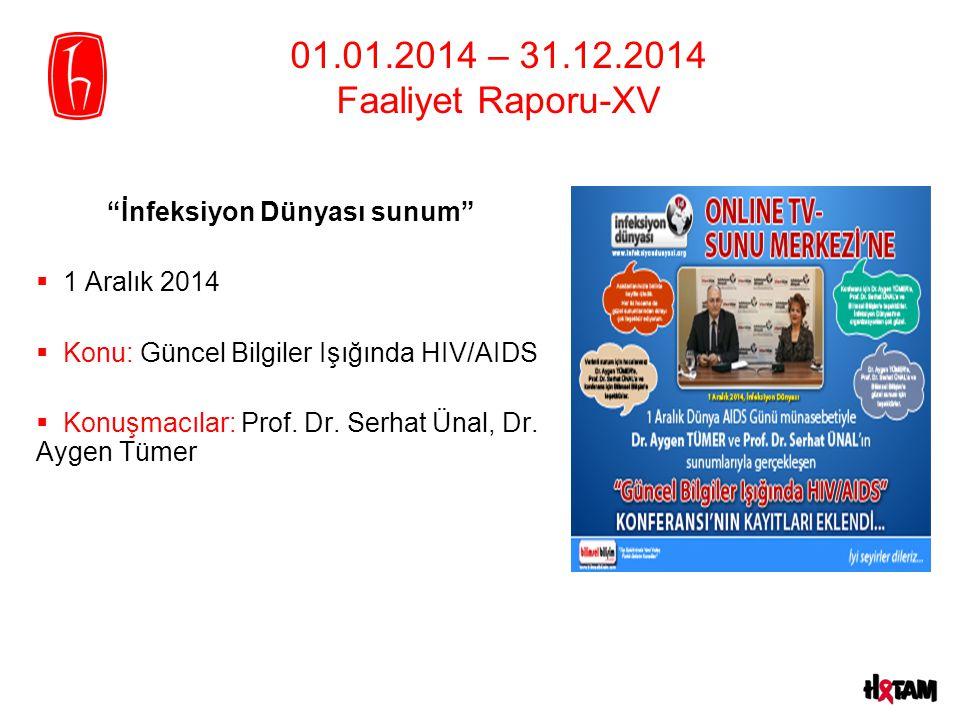01.01.2014 – 31.12.2014 Faaliyet Raporu-XV İnfeksiyon Dünyası sunum  1 Aralık 2014  Konu: Güncel Bilgiler Işığında HIV/AIDS  Konuşmacılar: Prof.