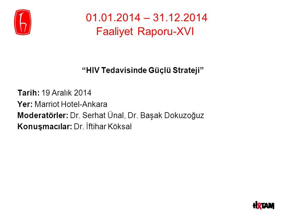 HIV Tedavisinde Güçlü Strateji Tarih: 19 Aralık 2014 Yer: Marriot Hotel-Ankara Moderatörler: Dr.