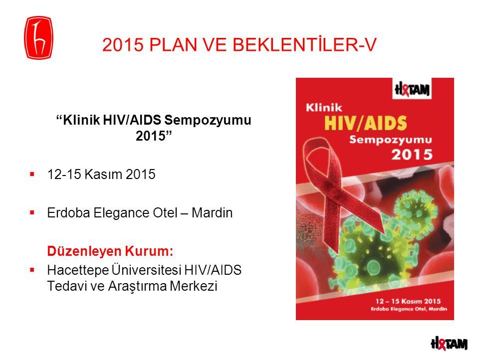 2015 PLAN VE BEKLENTİLER-V Klinik HIV/AIDS Sempozyumu 2015  12-15 Kasım 2015  Erdoba Elegance Otel – Mardin Düzenleyen Kurum:  Hacettepe Üniversitesi HIV/AIDS Tedavi ve Araştırma Merkezi