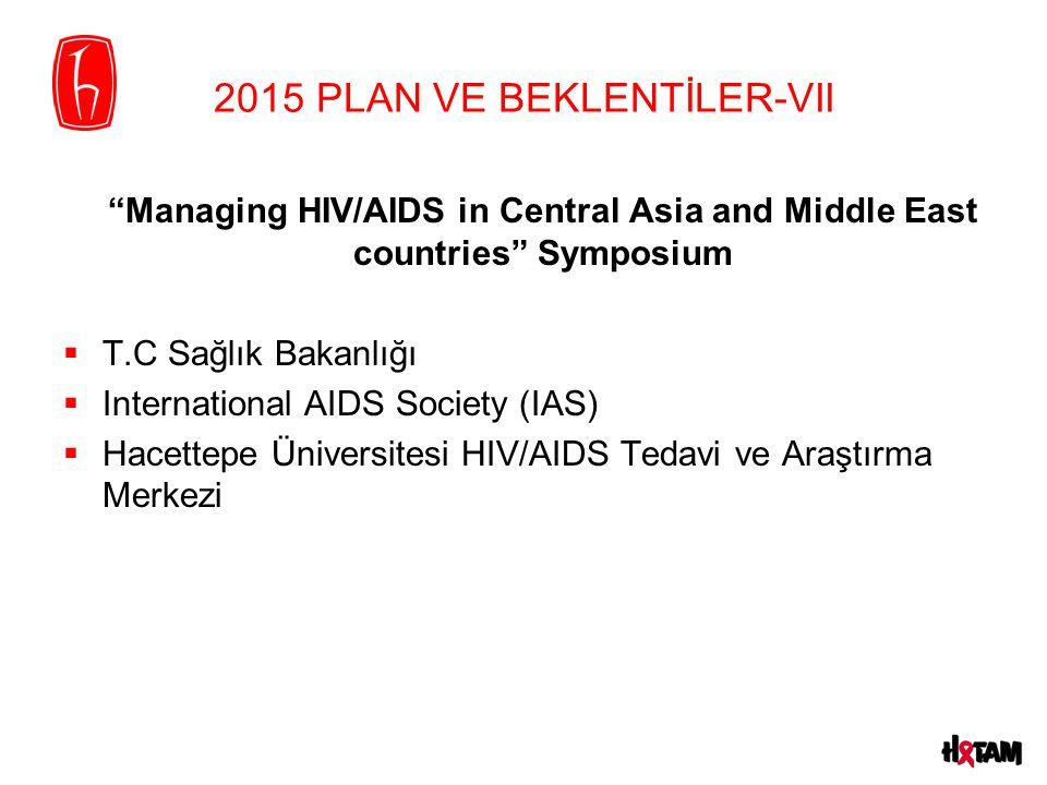 2015 PLAN VE BEKLENTİLER-VII Managing HIV/AIDS in Central Asia and Middle East countries Symposium  T.C Sağlık Bakanlığı  International AIDS Society (IAS)  Hacettepe Üniversitesi HIV/AIDS Tedavi ve Araştırma Merkezi