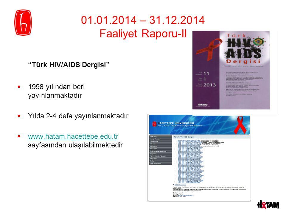 01.01.2014 – 31.12.2014 Faaliyet Raporu-II Türk HIV/AIDS Dergisi  1998 yılından beri yayınlanmaktadır  Yılda 2-4 defa yayınlanmaktadır  www.hatam.hacettepe.edu.tr sayfasından ulaşılabilmektedir www.hatam.hacettepe.edu.tr