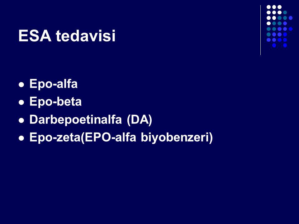 ESA tedavisi Epo-alfa Epo-beta Darbepoetinalfa (DA) Epo-zeta(EPO-alfa biyobenzeri)