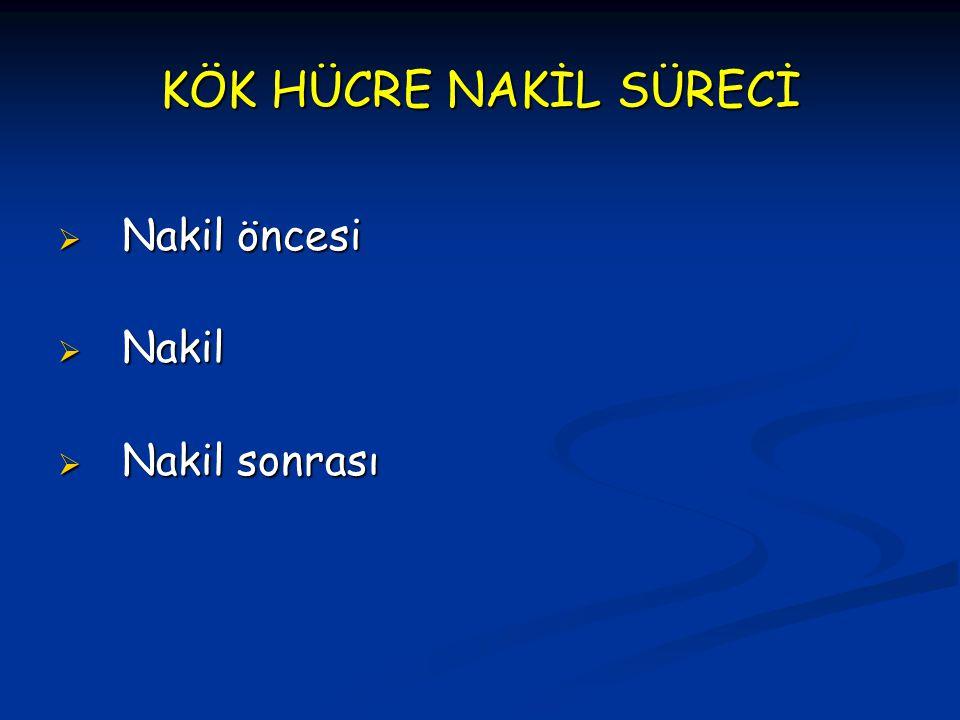 KÖK HÜCRE NAKİL SÜRECİ  Nakil öncesi  Nakil  Nakil sonrası