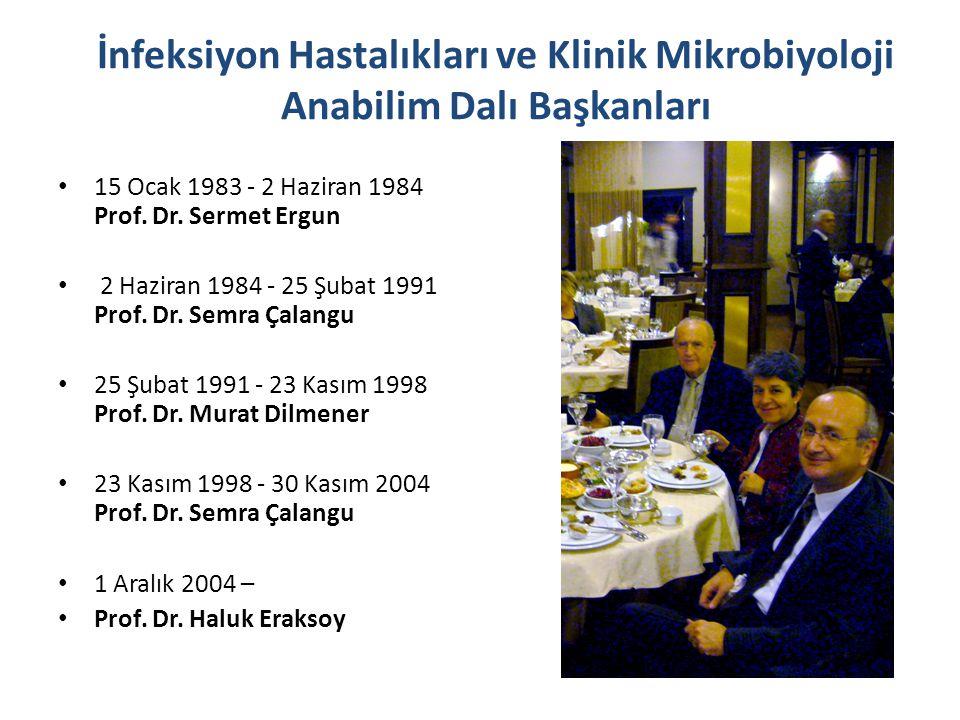 İnfeksiyon Hastalıkları ve Klinik Mikrobiyoloji Anabilim Dalı Başkanları 15 Ocak 1983 - 2 Haziran 1984 Prof. Dr. Sermet Ergun 2 Haziran 1984 - 25 Şuba