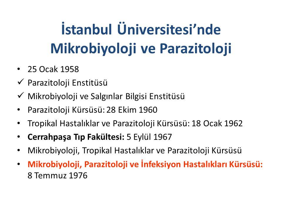 25 Ocak 1958 Parazitoloji Enstitüsü Mikrobiyoloji ve Salgınlar Bilgisi Enstitüsü Parazitoloji Kürsüsü: 28 Ekim 1960 Tropikal Hastalıklar ve Parazitolo