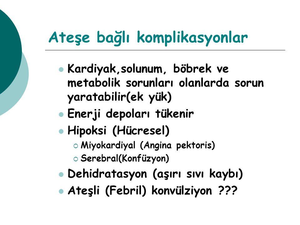 Ateşe bağlı komplikasyonlar Kardiyak,solunum, böbrek ve metabolik sorunları olanlarda sorun yaratabilir(ek yük) Enerji depoları tükenir Hipoksi (Hücresel)  Miyokardiyal (Angina pektoris)  Serebral(Konfüzyon) Dehidratasyon (aşırı sıvı kaybı) Ateşli (Febril) konvülziyon ???