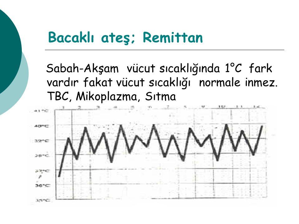 Bacaklı ateş; Remittan Sabah-Akşam vücut sıcaklığında 1°C fark vardır fakat vücut sıcaklığı normale inmez.